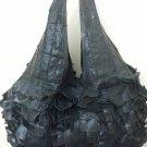 X-Large Black Genuine Leather Oversized Overnight Carryon Handbag Hobo Purse NWT