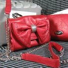 Nine West Studded Red Bow Chain Strap Mastique Bag Purse in Brick Red [NWT]