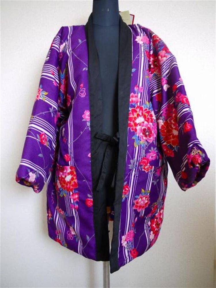 Women`s Hanten Short Coat of kimono Pattern Reversible Room Wear  Size L New