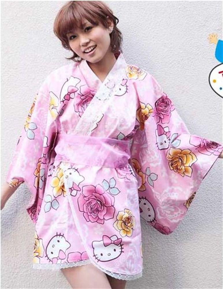 "Hello Kitty mini Yukata ""Butterfly and Rose ""M regular size  Kimono from Japan"