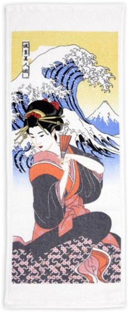 "Ukiyoe Wonder Towel Washcloth, Tenugui ""Namiura beauty"" Maiko Geisha Japan NEW"