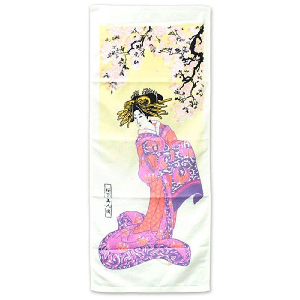 "Ukiyoe Wonder Towel Washcloth ""Beauty of the cherry tree under"" Maiko Geisha NEW"
