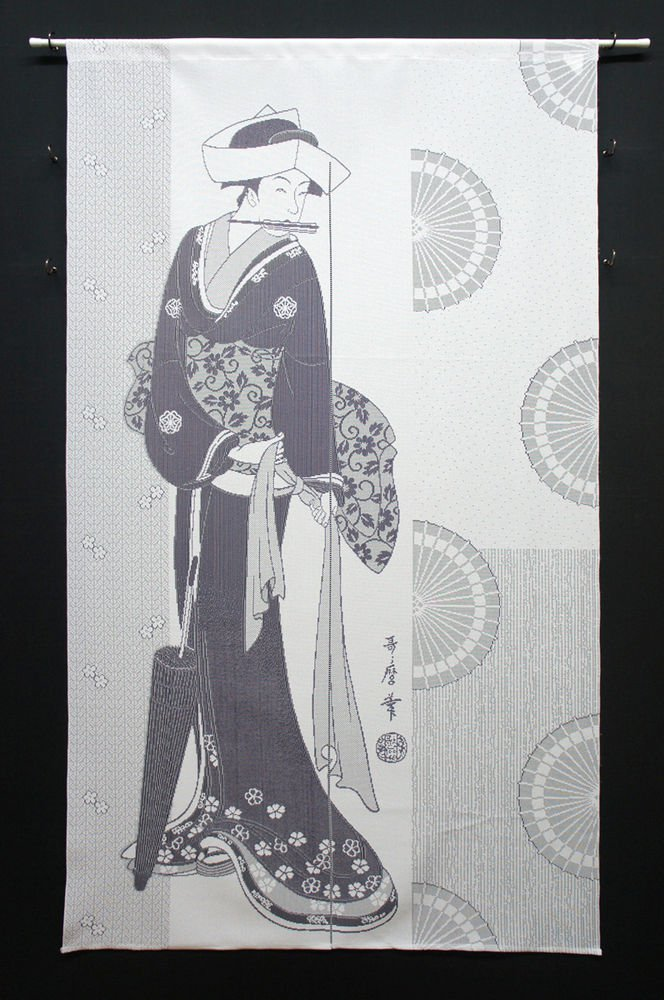 NOREN Umbrella and Woman , Japanese Traditional, Curtain, Partition 85 x 150 NEW