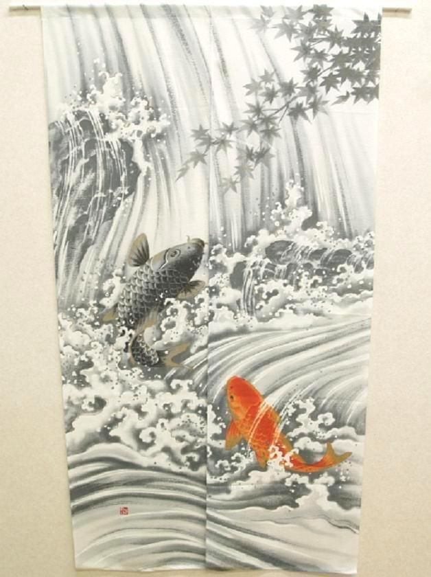 NEW Japanese Traditional Noren Ukiyoe Waterfall up of Carp Curtain 85x 150cm