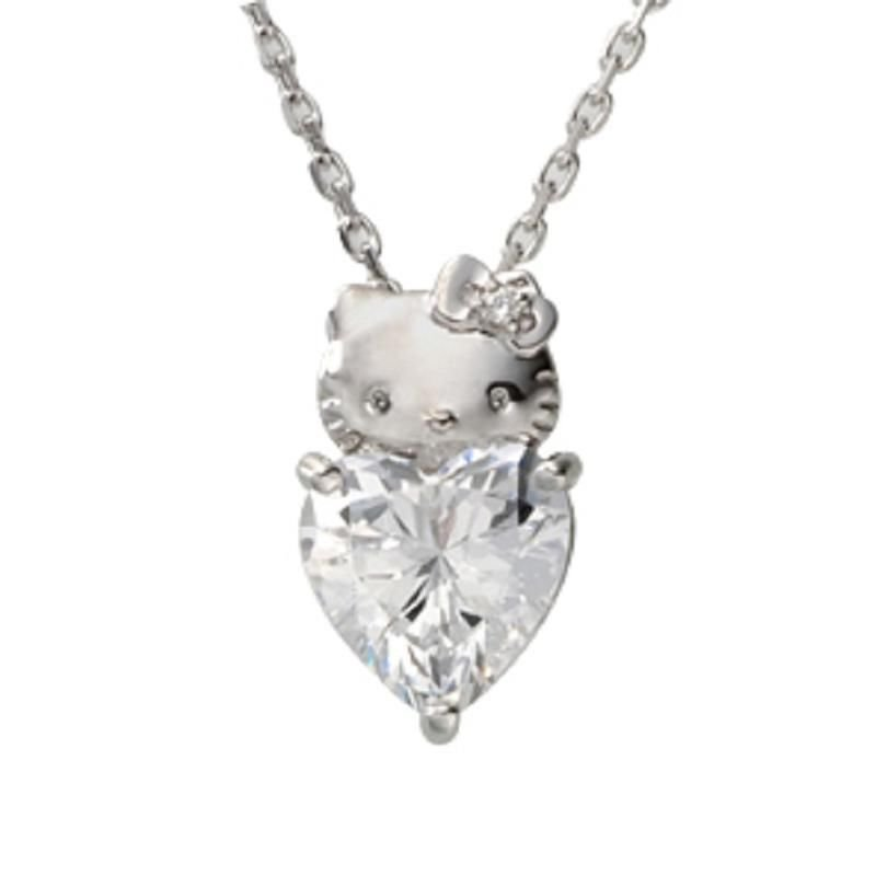 Hello Kitty Heart Pendant Necklace silver 925 - Swarovski Elements from Japan