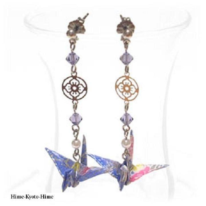 Japanese Pierced Earrings of Origami Crane + Swarovski Earrings Kimono Pattern