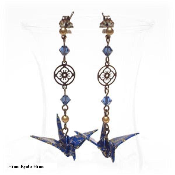 Pierced Earrings of Origami Crane + Swarovski Earrings,Japanese style for Kimono