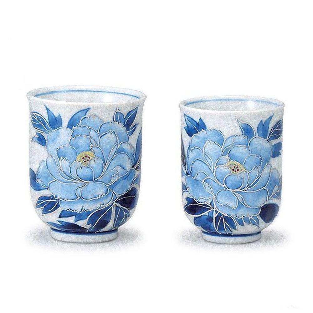 KUTANI YAKI Porcelain Yunomi Ginsaibotan Couple, Pair Cup Green Tea Cup JapanNEW