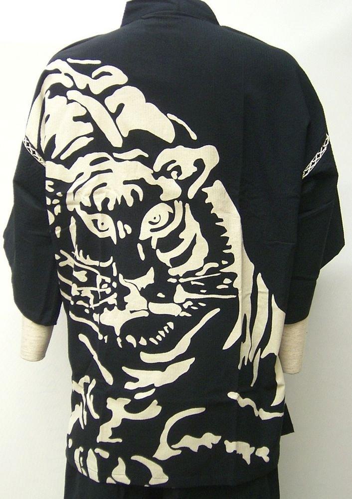 Men's Tiger pattern, Back print Jinbei Room wear Black L from Japan NEW