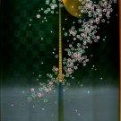 Japanese NOREN Full Moon & Sakura ( Cherry Blossom )Doorway black from Japan NEW
