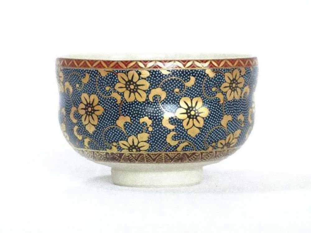 KUTANI YAKI Porcelain Bowl Chawan AOCHIBU Green Tea Cup Japan NEW