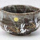KUTANI YAKI Porcelain Rice Bowl Chawan USAGI (Rabbit) Green Tea Cup JapanNEW