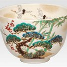 Longevity Tee Bowl Cup Overglaze Enamels Pine, Bamboo, & Plum Crane and Tortoise