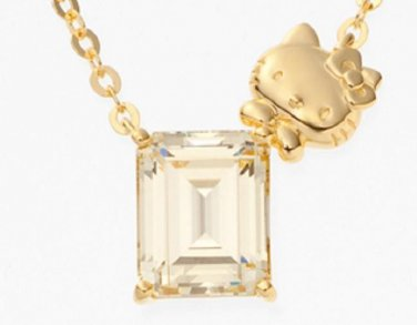 Hello Kitty Gold Octagon Pendant Necklace Swarovski from Japan NEW