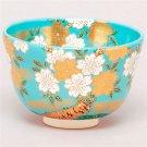 Pale Blue x SAKURA ( Cherry Blossom ) Matcha Tea Bowl from Japan NEW