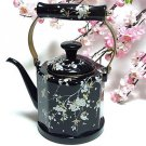 "Enamel Kettle Cherry ""Thread Sakura"" Black 1.5L Kettle for Tee ,Pot Japan NEw"