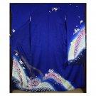 Azure x Cherry Blossom Kyoto High SILK Furisode Kimono Set Blue M Women JapanNEW
