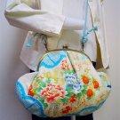 "Silk GAMAGUCHI, Shoulder Pouch, Bag ""Light Blu ""Kimono,Chirimen Crape Japan NEW"