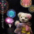 JAPANESE BEAR 3D miracle post card Summer fireworks anime kimono Kyoto NEW!