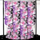 Furisode-Kimono Set Purple x Black Rose, Regular size M for Women's NEW