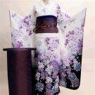Maiko Kimono set Purple Flower yukata lobe from Kyoto Japan Free Shipping NEW