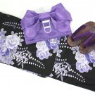 Blue RoseYukata set 3Item Kimono Maiko Geisha from Kyoto Japan NEW Free Shipping
