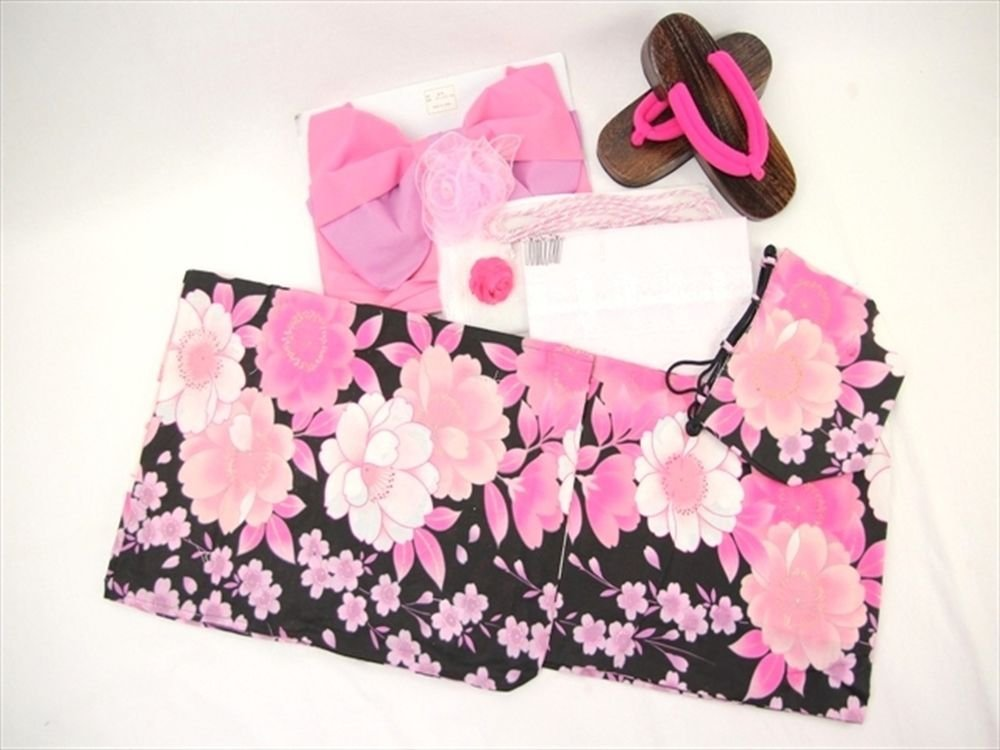 Pink Japanese Maiko Yukata set,10Item Kimono from Japan NEW Free Shipping