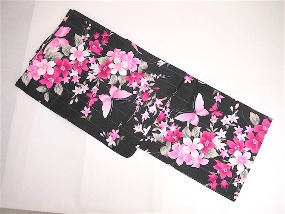 Pink butterfly Girls Yukata set 3Item Kimono Maiko Kyoto Japan NEW Free Shipping