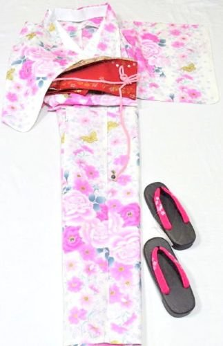 JapaneseYukata Pink 4 Set L 2L Large Big Tall Women Maiko Kimono Dress NEW F/S