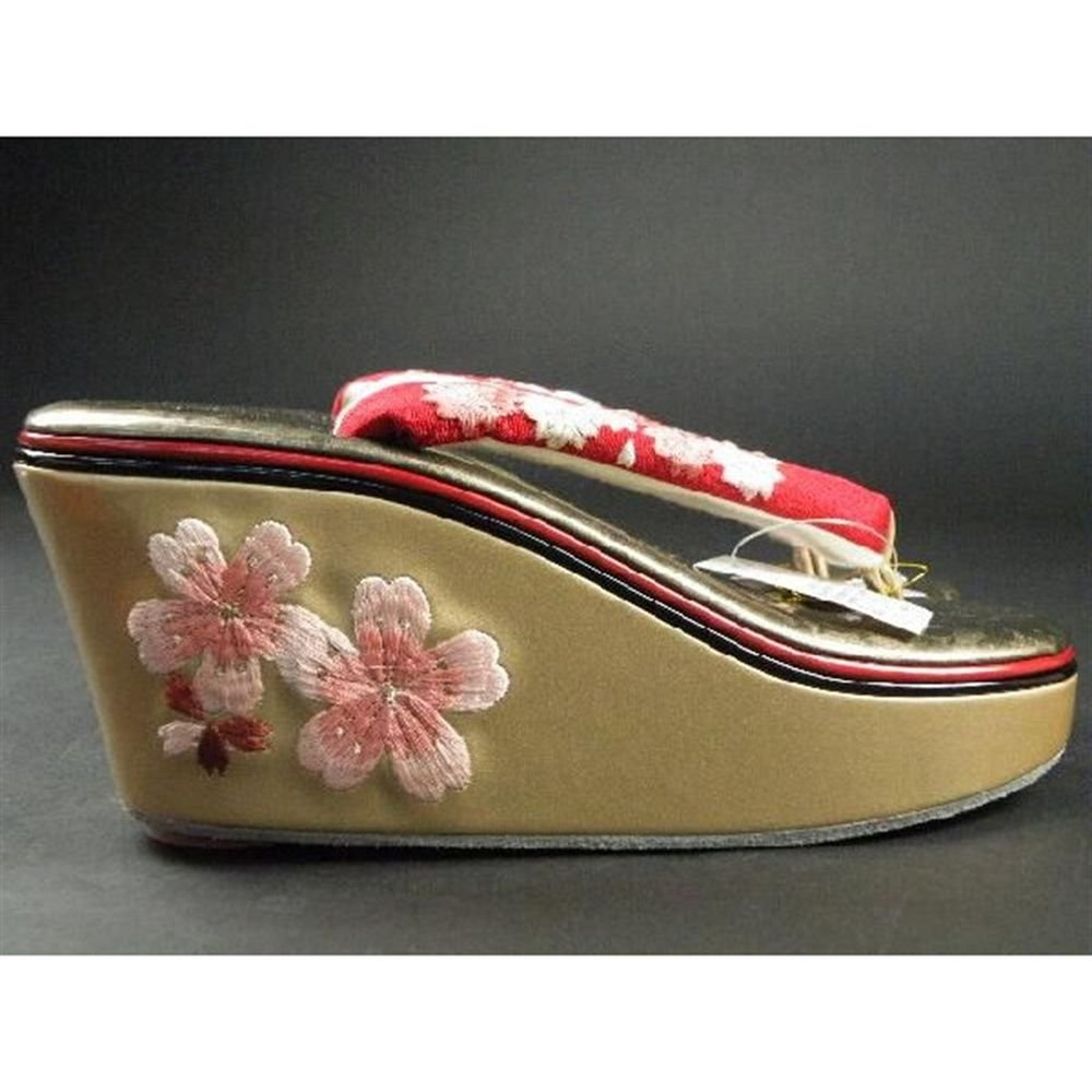 Cherry Blossom Maiko Geta, Clogs for Kimono,Yukata red  Japan NEW Free Shipping