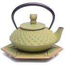 NEW Hello Kitty Iron Kyusu Tea Pot + Coaster Kettle Japan Limited SANRIO green