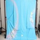 Maiko SILK Furisode-Kimono Set Barbie Aqua light Blue Lobe Regular M Kyoto NEW