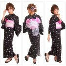 Black Polka dot Geisha Maiko Yukata Set Kimono Dress Cotton from Girl'sJAPAN NEW