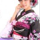 Girl's Yukata 7 Item Set Kimono Dress for Maiko Regular M from Kyoto JAPAN NEW