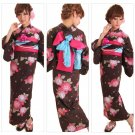 Brown Yukata Set Kimono Dress for Maiko Girl's Regular M from Kyoto JAPAN NEW