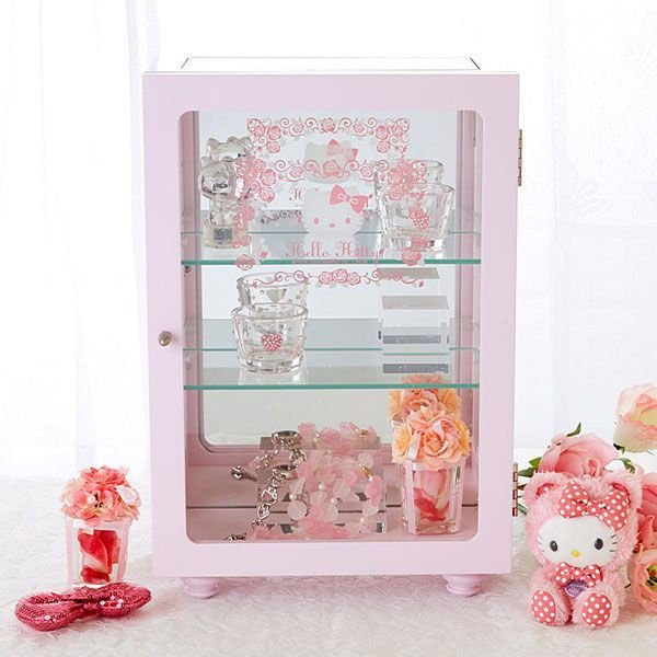 Hello kitty Glass shelf, Gallery Case Accessorie Case Pink ANRIO from JAPAN NEW