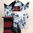Maiko Kimono set Blue Flower yukata lobe from Kyoto Japan Free Shipping NEW