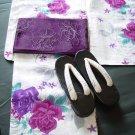 Purple Rose Yukata Set Summer Kimono Dress Maiko M Girls Lobe Kyoto NEWF/S Japan
