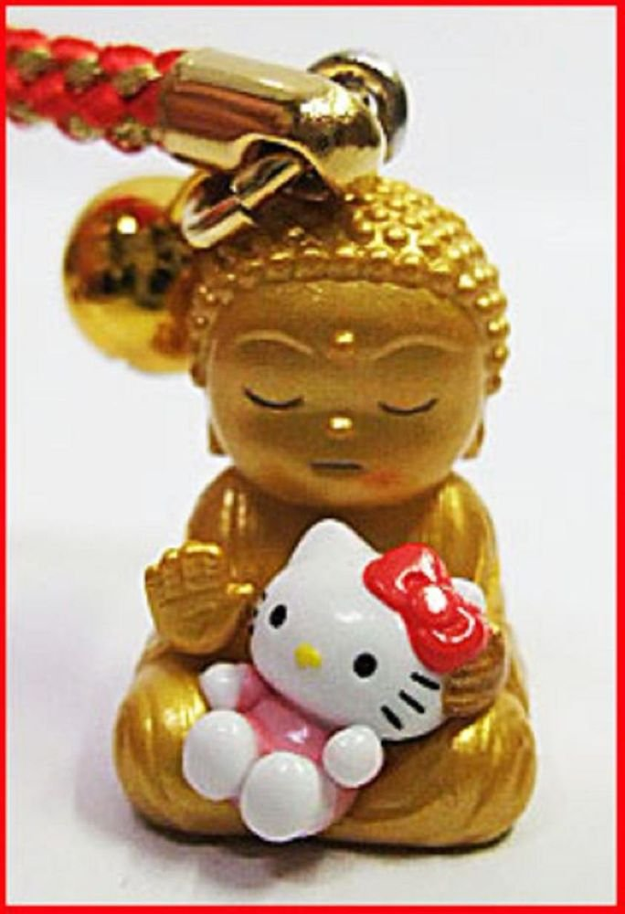 Hello Kitty x Buddha Cell , Mobile Phone Strap Key Ring Japan Limited NEW F/S