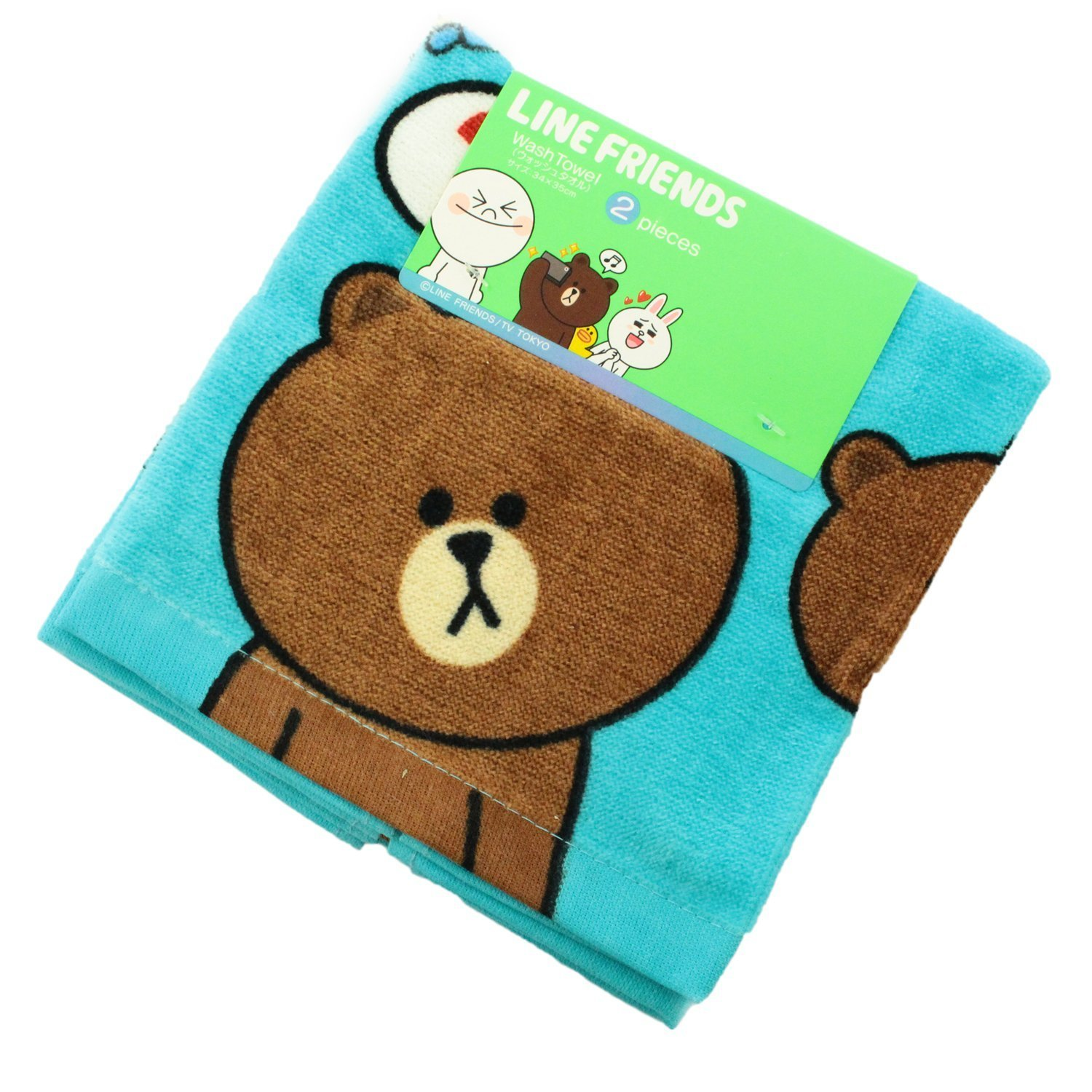 New LINE FRIENDS Brown Wash Towel 2P Set 34 x 35cm from Japan