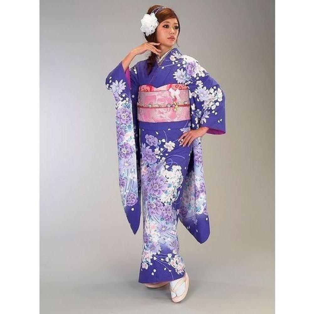 NEW Maiko Kimono set Blue Cherry blossoms yukata lobe M from Kyoto Japan F/S