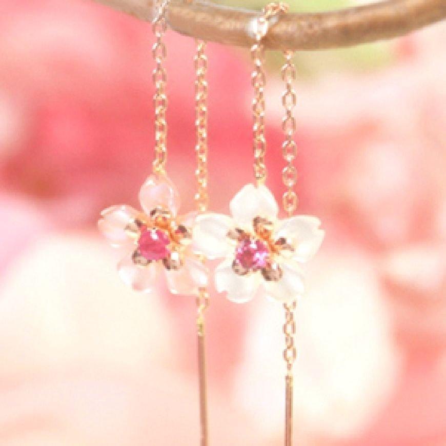 MAIKO SAKURA Cherry Blossom K10 Pink Gold x Shellfish Ruby Pierce from Japan F/S