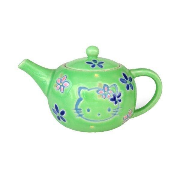 Green Hello kitty Arita-yaki Teapot & cup set Kyusu, Yunomi Kettle Japan NEW F/S