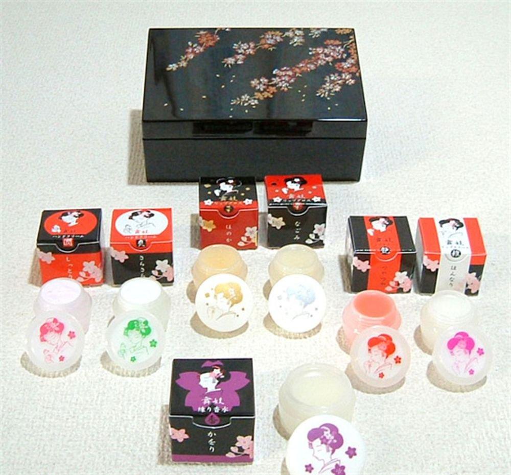 Maiko,Geisha Make Up Cosmetic Set & Case Oshiroi Kabuki Skin Care Kimono Japan