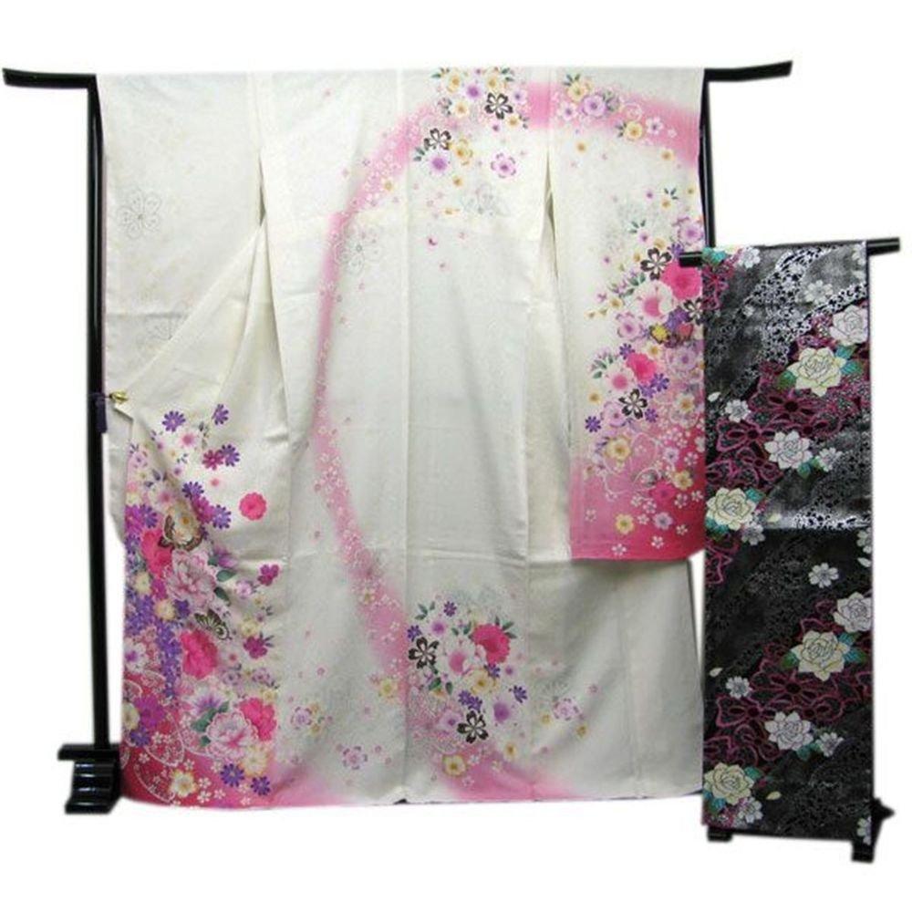 Maik Furisode Kimono Set White butterfly Silk Regular M Geisha Kyoto NEWJapan FS