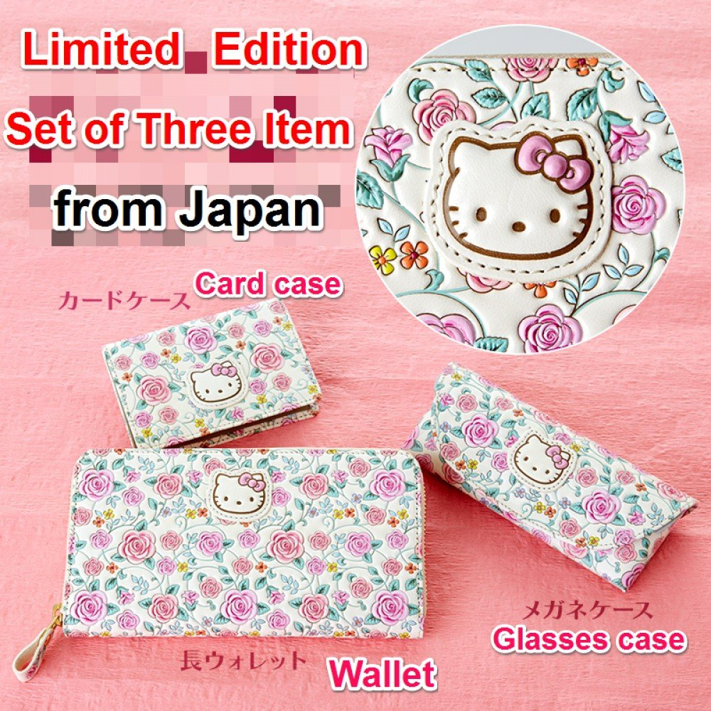 HELLO KITTY Asakusa Bunko 3set Wallet, Card, Glass case Cowhide Japan limitedNEW