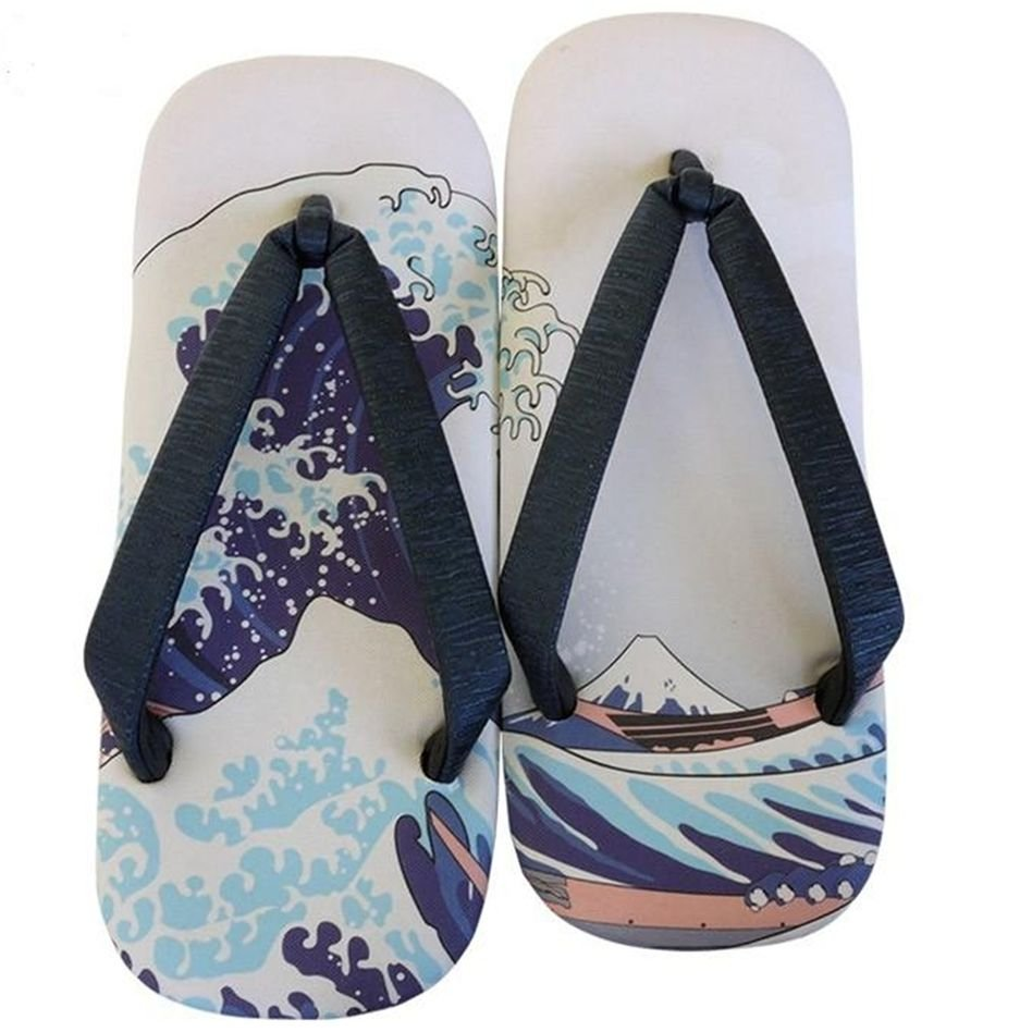 "SETTA HOKUSAI Fuji wave Leathersoled Sandals 9""-10"" 42 1/2-43 / 27cmGeta MenNEW"
