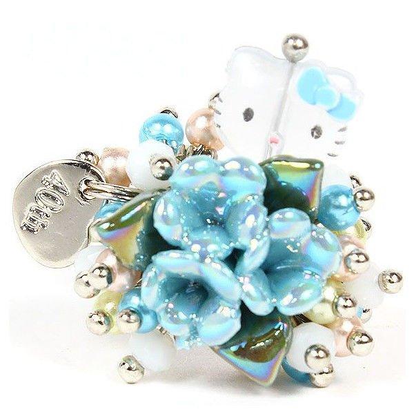 Hello Kitty 40 Anniversary Beads Ring flower Light blue NEW SANRIO FreeShipping