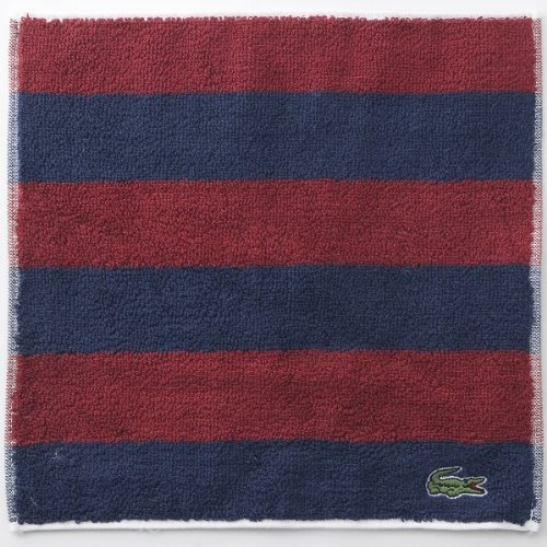 LACOSTE Mini Hand Towel Stripe Burgundy Navy Blue Licenced Authentic