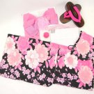 MAIKO Cherry Blossom Yukata set,10Item Pink Flower Kimono dress Japan NEWF/S